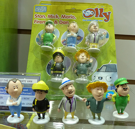 Olly the Little White Van figures - Stan, Mick, Mario, Fireman and Dom